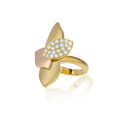 18K  Yellow and Rose Gold Leaf Ring