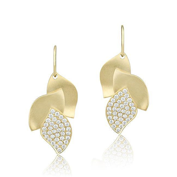 18K Yellow Gold Drop Leaf Earrings pave set with round brilliant cut diamonds