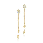 18K Yellow Gold Lotus Collection Double Drop Leaf Earrings With Diamonds