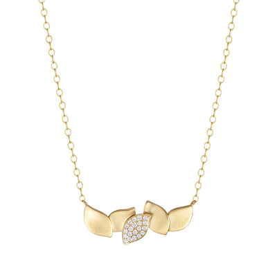 Carelle 18K Yellow Gold Diamond Layered Leaf Collection Necklace
