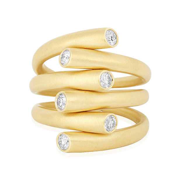 18K Yellow Gold Diamond Crossover Ring