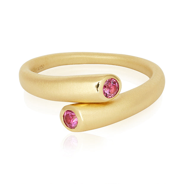 Carelle 18K Yellow Gold Pink Sapphire Whirl Collection Ring