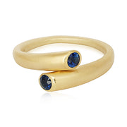 18K Yellow Gold Blue Sapphire Whirl Ring