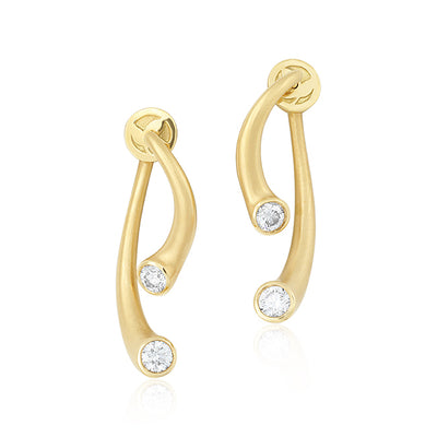 Carelle 18K Yellow Gold Diamond Whirl Collection Earrings