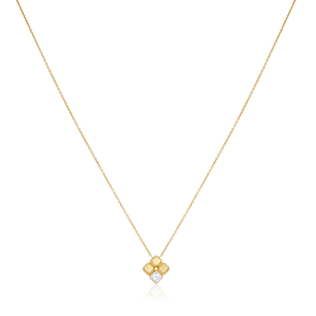 18K Yellow Gold Pixel Collection Square Diamond Necklace