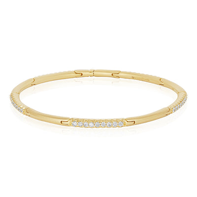 18K Yellow Gold Diamond Hinged Bracelet