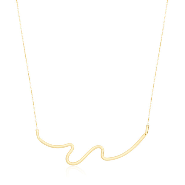 Yellow Gold Brush Stroke Necklace