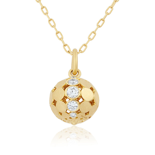 18K Yellow Gold Diamond Disco Ball Necklace