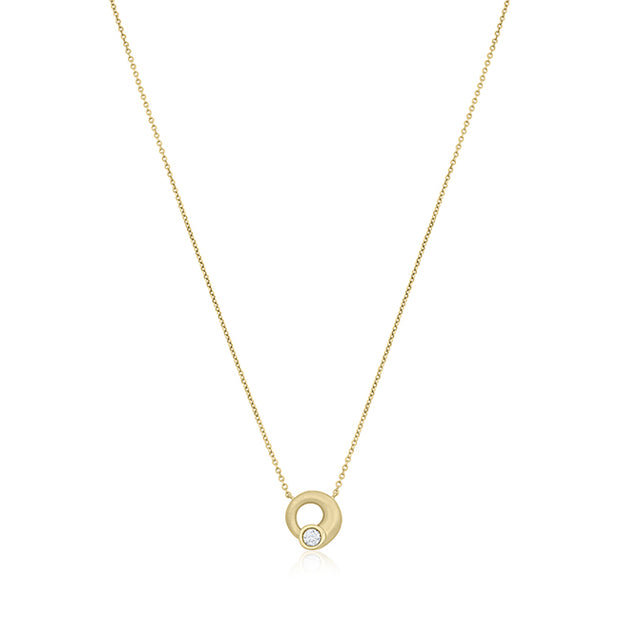 18K Yellow Gold Whirl Collection Diamond Neckalce