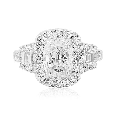 18K White Gold and Diamond Three Ston Halo Engagement Ring