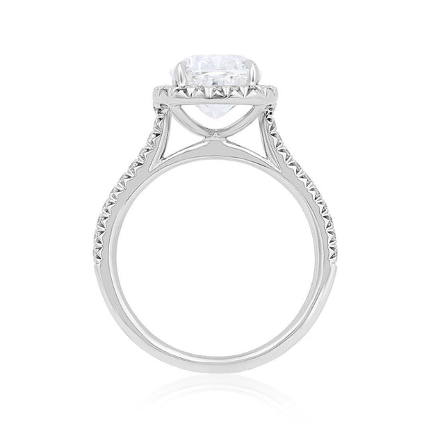 18K White Gold 3.18 Carat Cushion Diamond Engagement Ring