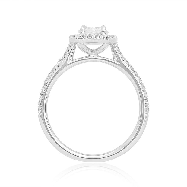18K White Gold and Diamond Halo Ring
