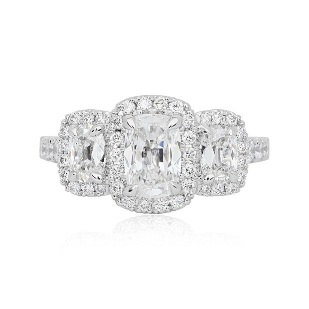 18K White Gold Threen Stone Diamond Halow Engagement Ring