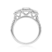 18K White Gold and Diamond Three Stone Ring with Halo