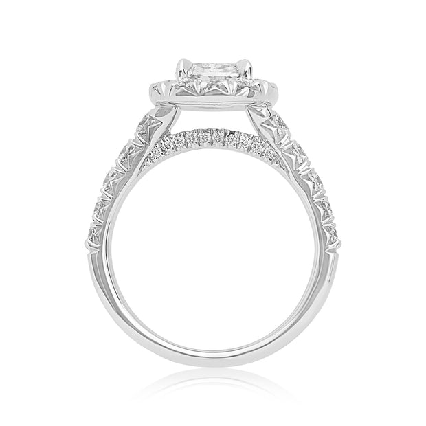 Henri Daussi 18K White Gold and Diamond Halo Engagement Ring Front View