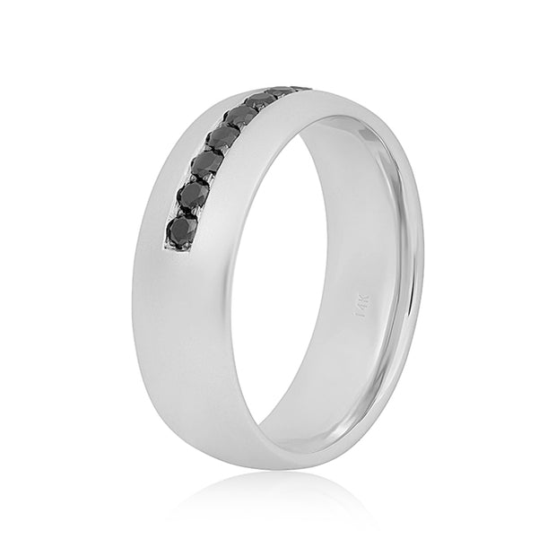 White Gold and Black Diamond Band