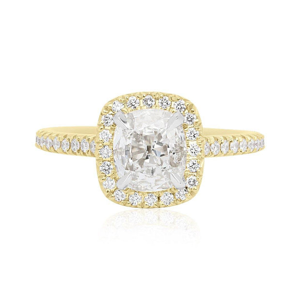 18K Yellow Gold Cushion Diamond and Halo Engagment Ring