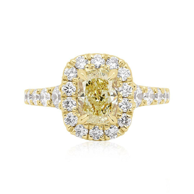 Henri Daussi 18K Yellow Gold and Yellow Diamond Engagement Ring with White Diamond Halo Top View