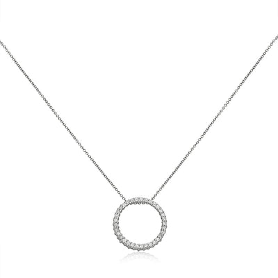 14K White Gold Necklace with Circle Diamond Pendant