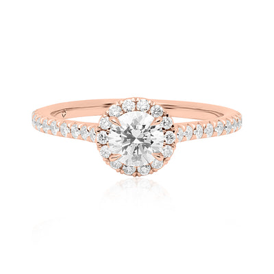 18K Rose Gold Diamond Halo Engagement Ring
