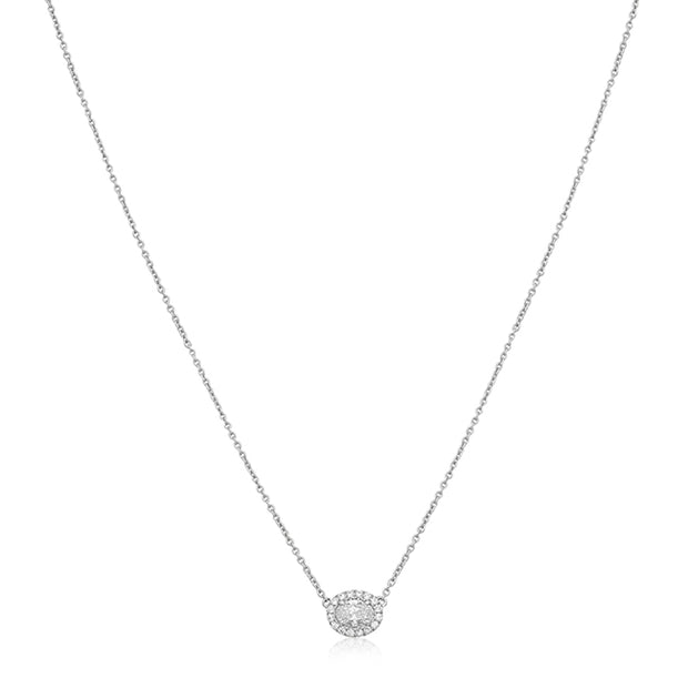 Forevermark 18K White Gold Oval Diamond Halo Necklace