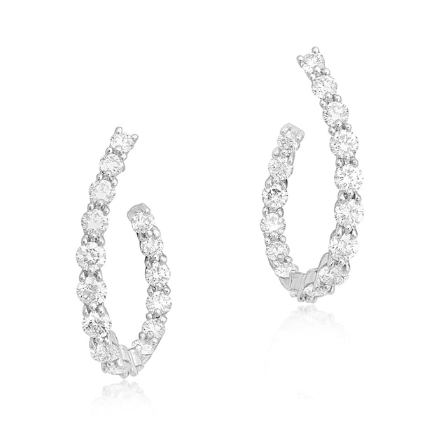 Platinum Diamond Hoop Earrings