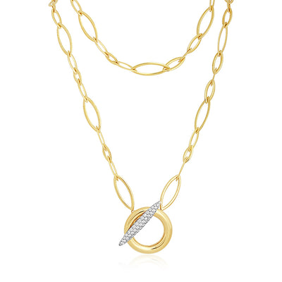 18K Yellow and White Gold Diamond Necklace