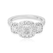 18K White Gold Three Cushion Halo Engagement Ring