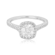18K White Gold Diamond Halo Engagment Ring