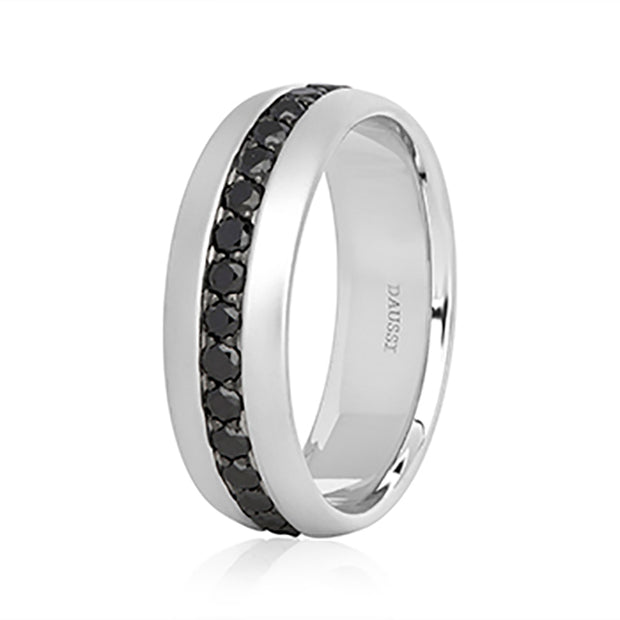 Henri Daussi 14K White Gold Matte Finish Black Diamond Men's Wedding Band