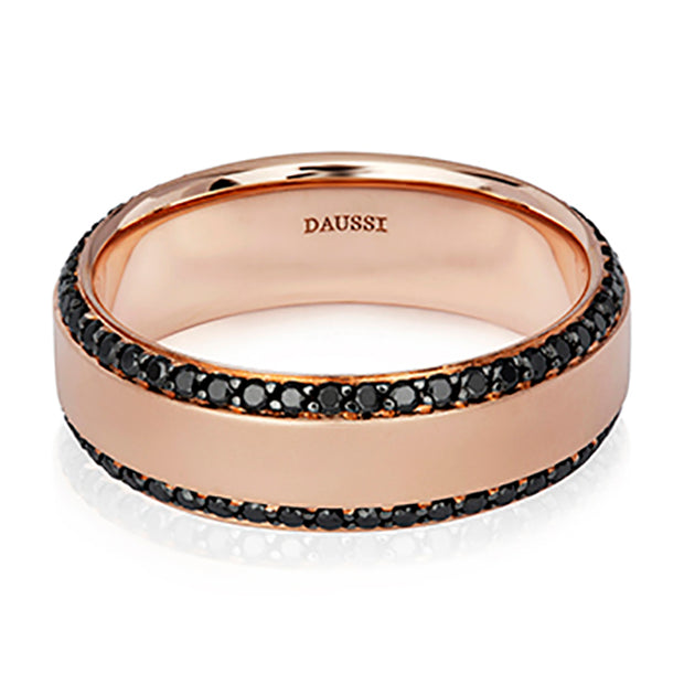 Henri Daussi 14K Rose Gold and Black Diamond Band