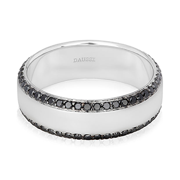 14K White Gold and Black Diamond Band