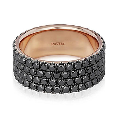 14K Rose Gold and Black Diamond Band