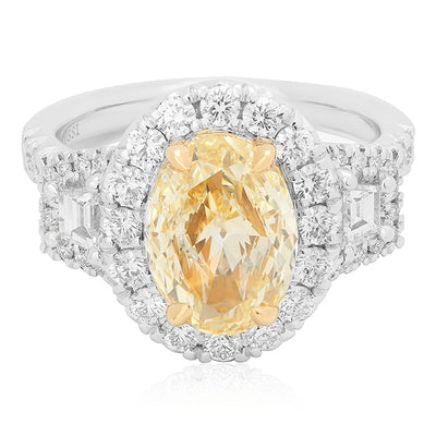 White Gold Yellow Diamond Ring