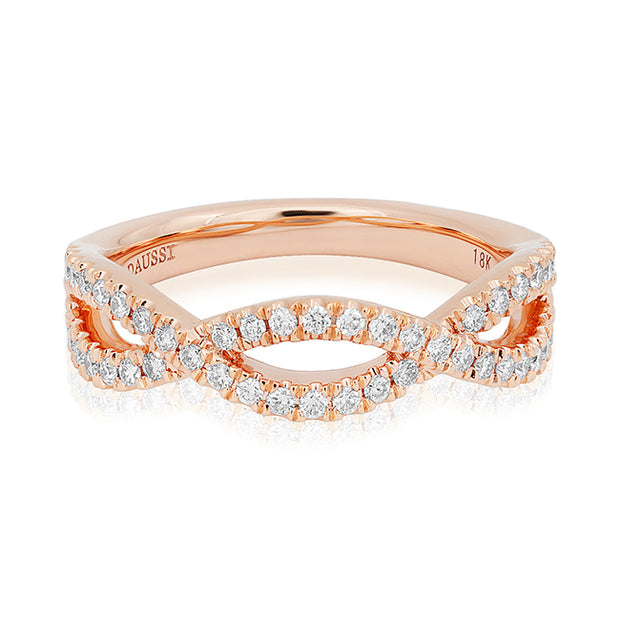 18K Rose Gold Twisted Diamond Band