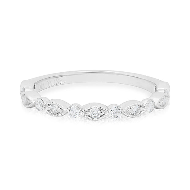 14K White Gold Marquise and Round Band With Diamonds