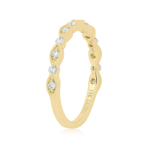 Henri Daussi 18K Yellow Gold Marquise and Round Diamond Band