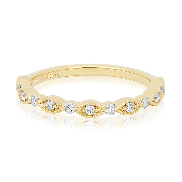 18K Yellow Gold Marquise and Round Diamond Band