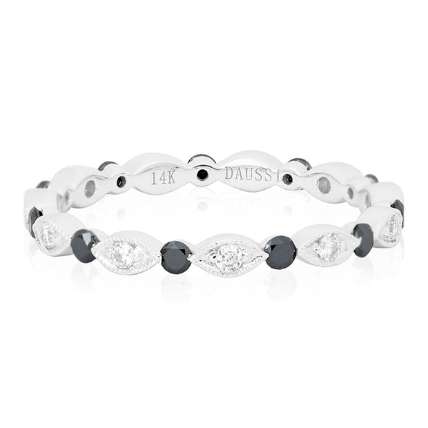 14K White Gold Marquise and Round Eternity Band With White and Black Diamonds