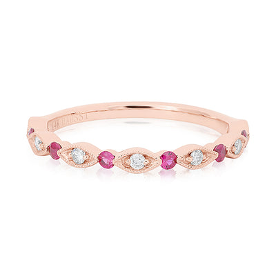 Henri Daussi Rose Gold Diamond And Pink Sapphire Band