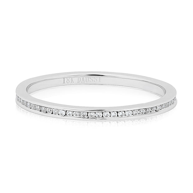 Henri Daussi 18K White Channel Set Diamond Eternity Band