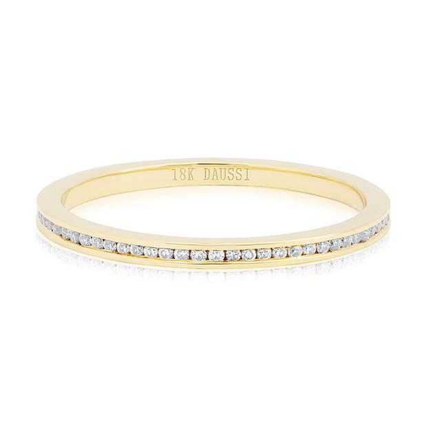 Henri Daussi 18K Yellow Gold Channel Set Diamond Eternity Band