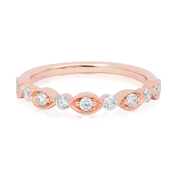 18K Rose Gold Marquise and Round Band With Diamonds