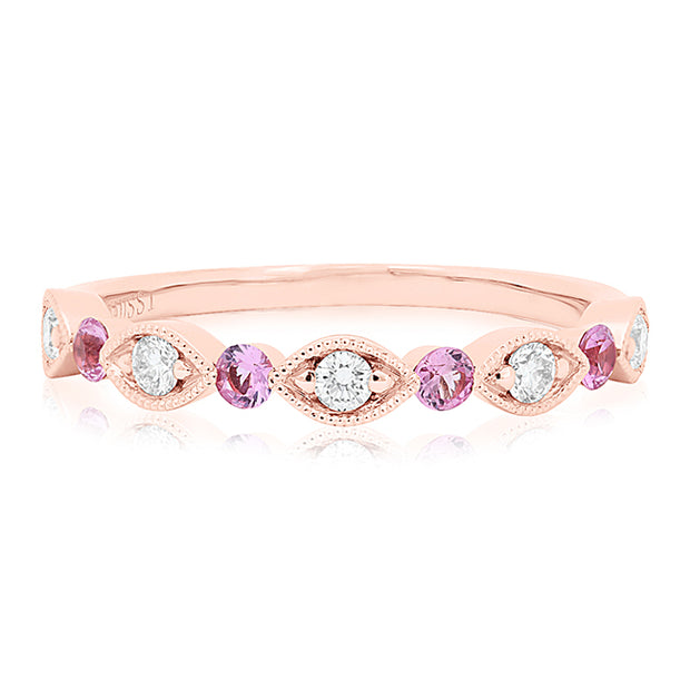 14K Rose Gold Marquise and Round Band With Diamonds And Pink Sapphires