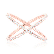 Rose Gold Diamond Crisscross Ring