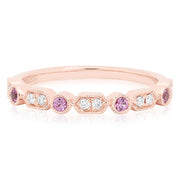 18K Rose Gold Diamond and Pink Sapphire Band