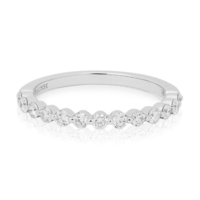 18K White Gold Prong Set Round Diamond Band