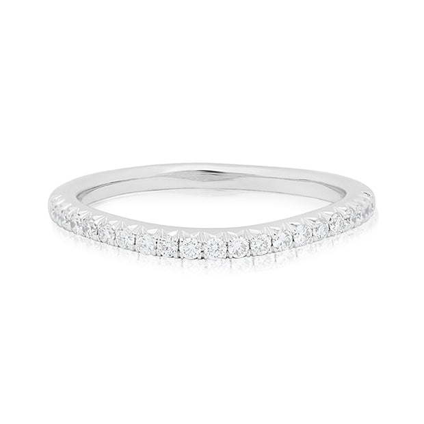 Henri Daussi Platinum Curved Round Diamond Band