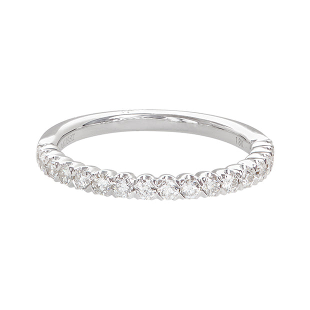Henri Daussi 18K White Gold Round Diamond Band