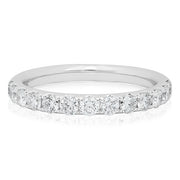 18K White Gold Round Diamond Band
